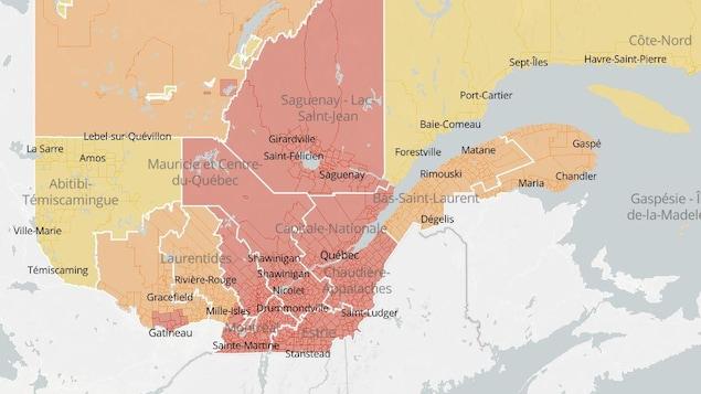 La carte du Québec avec les codes de couleur de la COVID.