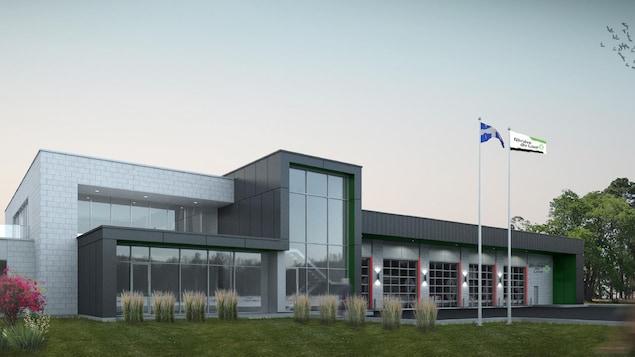 La maquette du nouveau projet de caserne de pompiers de Rivière-du-Loup.