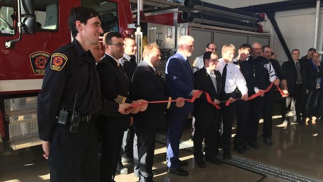 Inauguration de la nouvelle caserne des pompiers de La Doré le 19 mars 2018 par le premier ministre Philippe Couillard