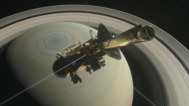 Illustration montrant la sonde Cassini au-dessus de l'hémisphère Nord de Saturne.