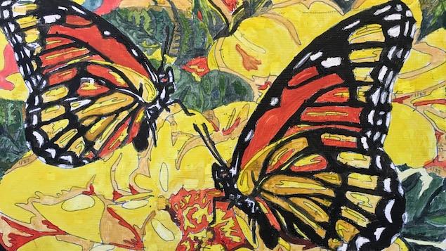 Une peinture de trois papillons sur des fleurs.