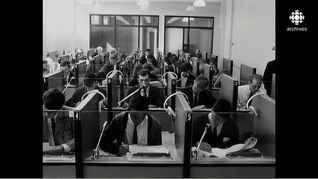 Jeunes hommes concentrés travaillant dans des petits cubicules vitrés