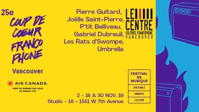 Visuel promotionnel Coup de cœur francophone de Vancouver: liste des musiciens en concert et les dates