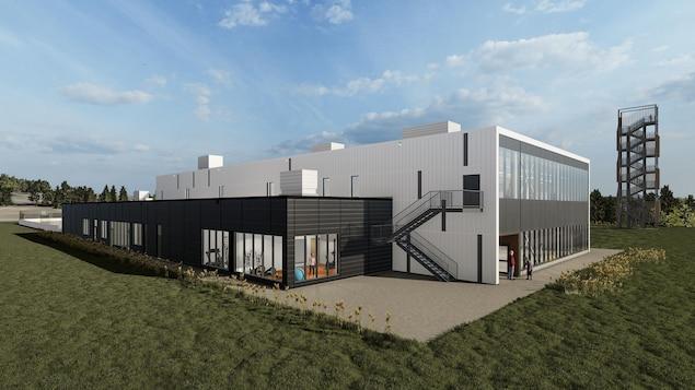 Une modélisation d'un bâtiment qui contient un gymnase.