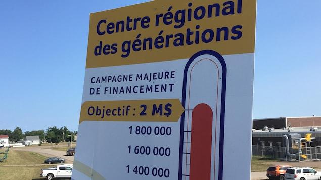 La contribution financière de la communauté pour le projet de Centre régional des générations dépasse les deux millions de dollars.  Le projet total est estimé à 15 millions de dollars.