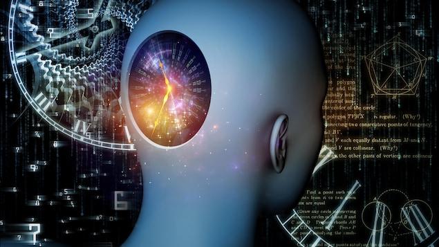 Illustration artistique montrant une horloge dans un cerveau humain.