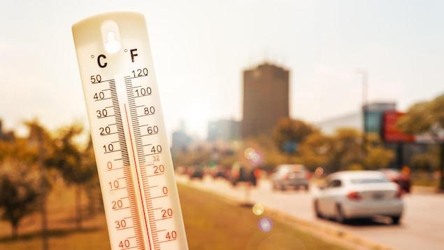 Le mercure indique 35 °C sur un thermomètre.