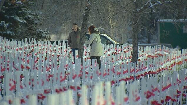 Un champ recouvert de croix surmontées de fleurs et de drapeaux du Canada.