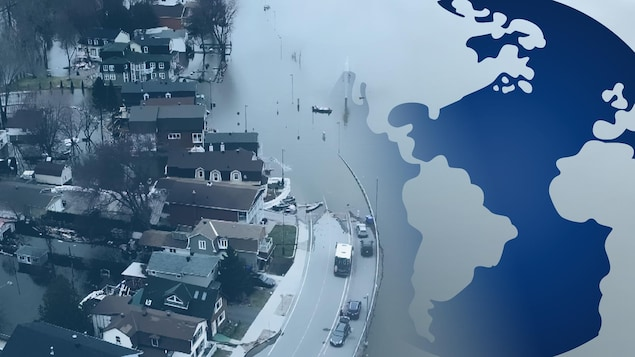 Une photo de la rue Jacques-Cartier se fond dans une infographie de la terre.