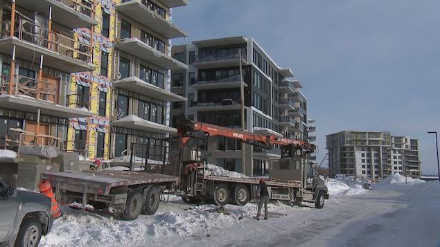 Un chantier de construction à Québec à l'hiver 2019