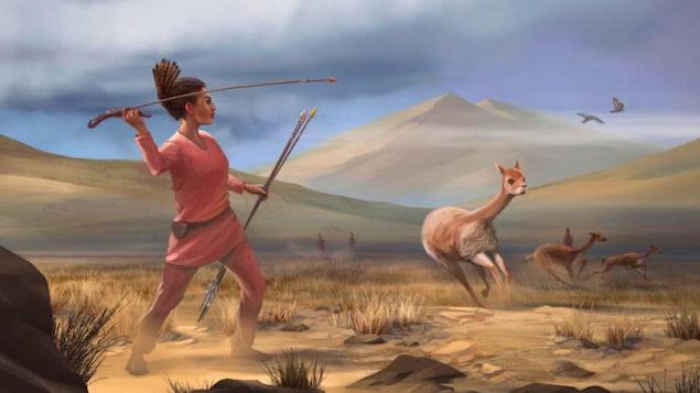 Une femme s'apprête à lancer ce qui ressemble à une lance sur un animal.