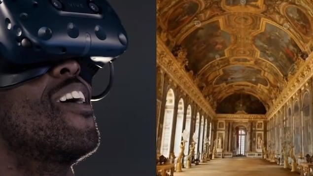 Un homme portant un casque de réalité viruelle regarde l'intérieur du château de Versailles.