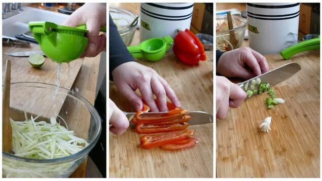 Préparation des légumes pour la salsa.