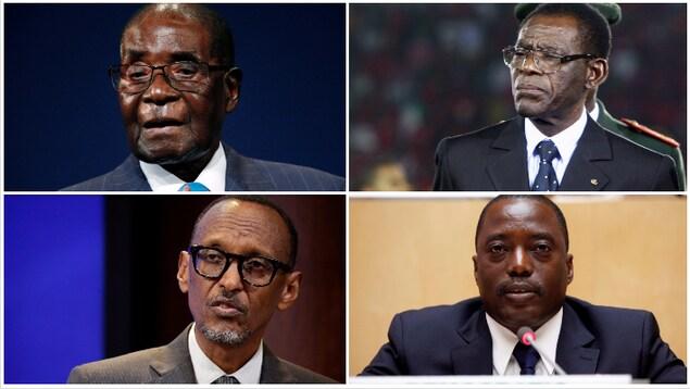 En haut à gauche, Robert Mugabe ; en haut à droite, Teodoro Obiang Nguema ; en bas à gauche, Paul Kagame ; en bas à droite, Joseph Kabila