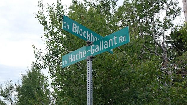 Panneau de signalisation du chemin Haché-Gallant.