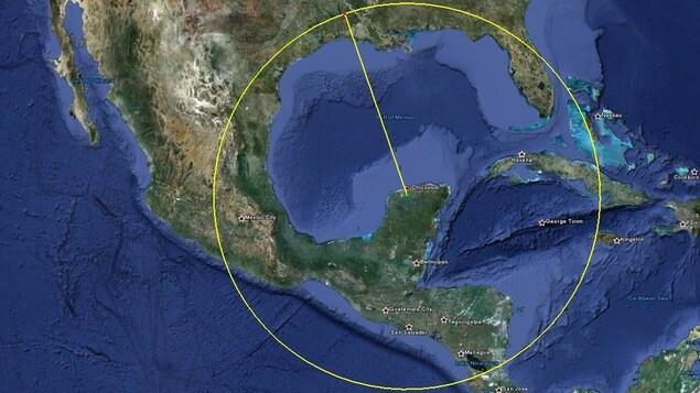 La zone d'impact de l'astéroïde.