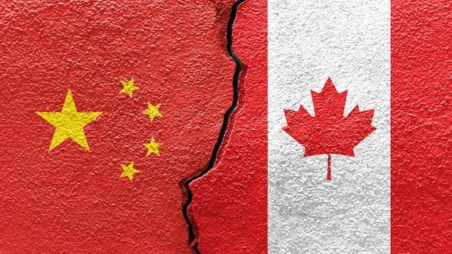 Les drapeaux de la Chine et du Canada imprimés sur une dalle de béton fissurée.