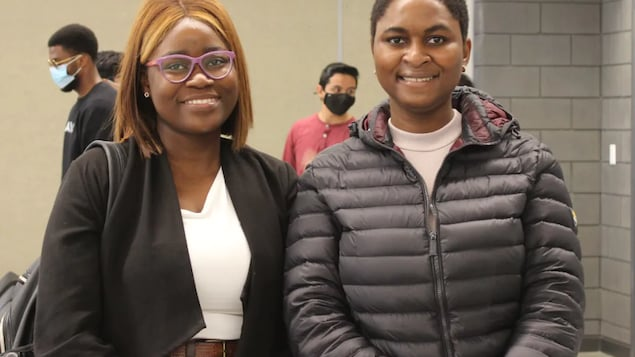 Chioma Onyeagolum, right, and her friend Ayomikun Oguntola, a fourth-year UPEI student from Nigeria studying business and economics, recently attended a career development fair.