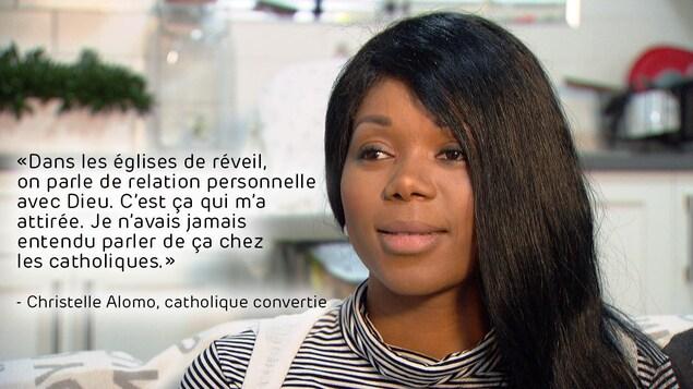 Portrait de Christelle Alomo, catholique reconvertie, avec citation incrustée dans l'image : «Dans les églises de réveil, on parle de relation personnelle avec Dieu. C'est ça qui m'a attirée. Je n'avais jamais entendu parler de ça chez les catholiques.»
