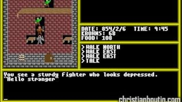 Image de vieux jeu vidéo avec trois chevaliers.