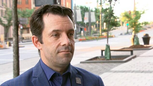 Christian Daigle en entrevue avec Radio-Canada à l'issue des négociations qui avaient lieu à Québec.