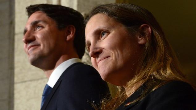 Chrystia Freeland en compagnie de Justin Trudeau
