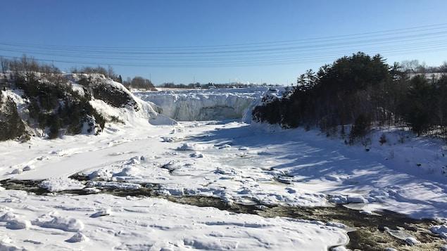 Les chutes de la rivière Chaudière à Lévis, en janvier 2020