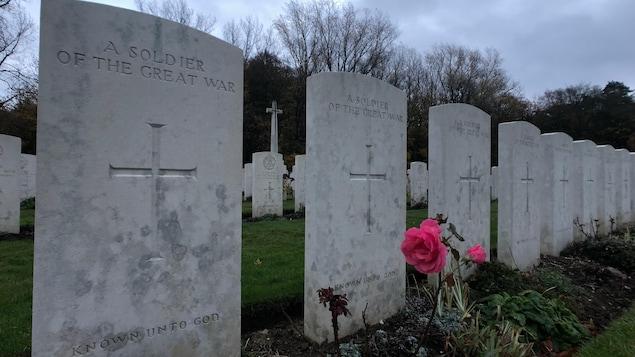 Des pierres tombales de soldats qui ont perdu la vie lors de la Première Guerre mondiale.