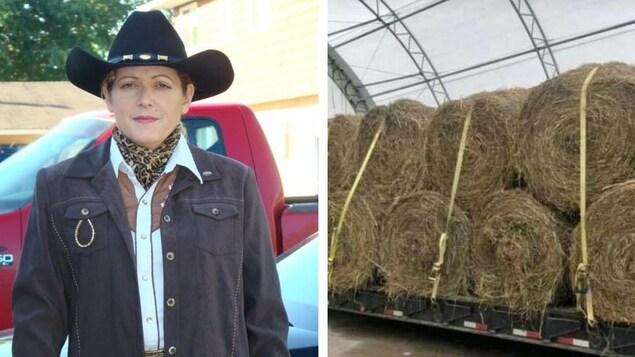 Cindy Wilinski chapeau sur la tête se tient debout devant sa camionnette.