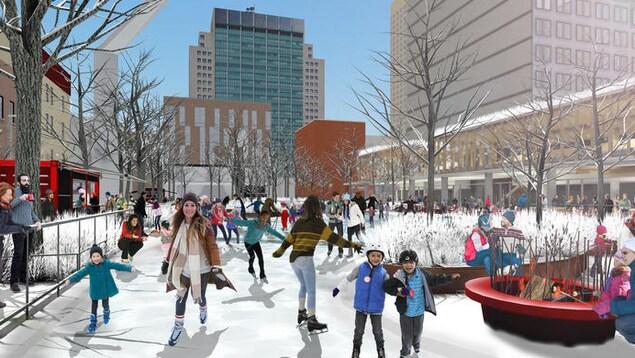 L'aménagement de l'esplanade Clark complète une série de réalisations des dernières années pour le pôle Place des Arts.