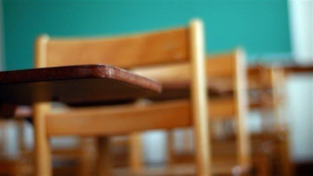 Des chaises et des pupitres dans une salle de classe vide.