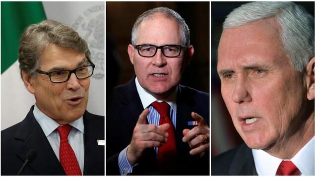 De gauche à droite : Rick Perry, secrétaire à l'Énergie; Scott Pruitt, secrétaire de l'Agence de protection de l'environnement; Mike Pence, vice-président des États-Unis.