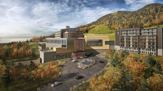 Esquisse du projet de Club Med Québec Charlevoix. Bâtiments au pied de la montagne à l'automne