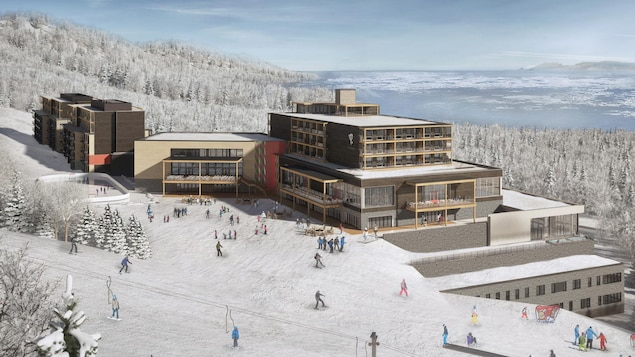Esquisse du projet de Club Med Québec Charlevoix. Des bâtiments sont bâtis à flanc de montagne avec vue sur le fleuve.