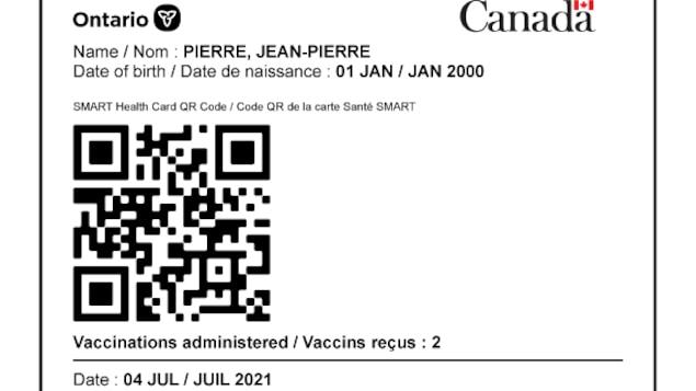 Le document avec le code QR d'une personne en Ontario.