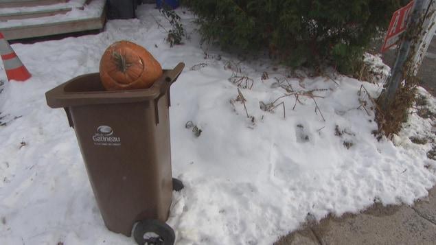 Une citrouille dépasse d'un bac brun installé dans la neige, en bordure d'un trottoir, à Gatineau.