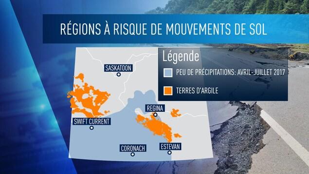 Les régions à risque de mouvements de sol selon SaskPower et Environnement Canada