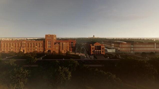 Image de synthèse. Vue générale aérienne avec l'université de Regina, la salle de concert Darke Hall et le nouveau bâtiment de Conexus. On apperçois le palais législatif en arrière plan.