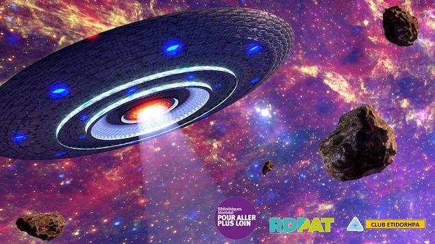 Une illustration montrant une soucoupe volante et des astéroïdes.