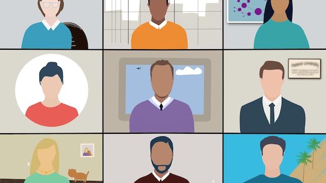 Illustration de 9 personnes connectées sur un logiciel de visioconférence.