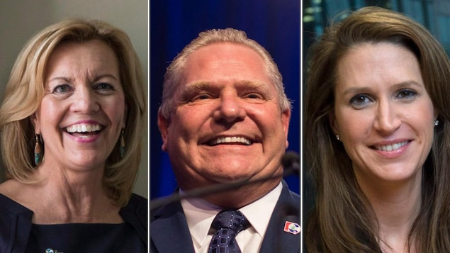 Photo en mosaïque de Christine Elliott, Doug Ford et Caroline Mulroney.