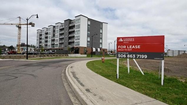 Une pancarte, près d'une rue, qui indique que des logements d'appartement sont à loué. À l'arrière, une grue, et également un immeuble neuf luxueux de six étages.