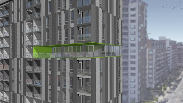 La réglementation actuelle interdit de faire une terrasse sur le toit des immeubles de logements sociaux. Les architectes ont compensé par une salle polyvalente au 10e étage de l'édifice.