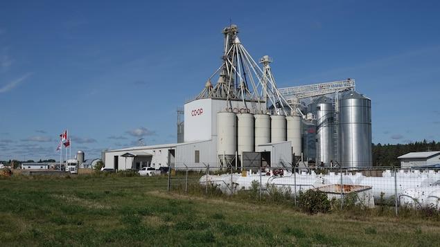 Plan d'ensemble du centre agricole qui compte une dizaines de silos et convoyeurs à grains.
