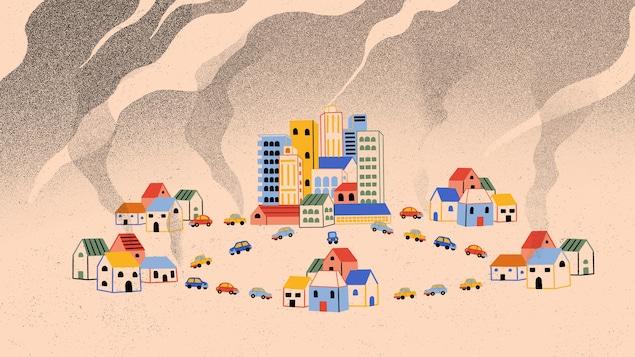 Une illustrations de plusieurs banlieues et d'une ville entre lesquelles plusieurs voitures circulent et émettent des gaz à effet de serre.