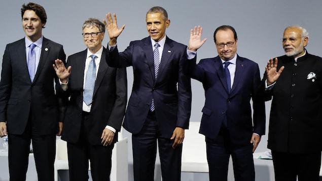 Justin Trudeau, Bill Gates, Barack Obama, François Hollande et Narendra Modi, à la COP21 à Paris.