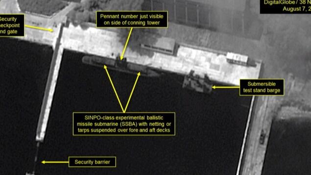 Une image satellite montrant un sous-marin nord-coréen