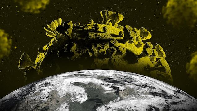 Le virus de la COVID-19, en gros plan, qui approche dangereusement de la planète Terre.