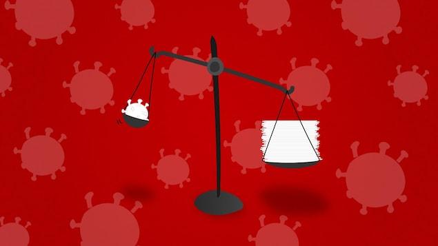 Un montage graphique représentant une balance. À gauche, une représentation du virus. À droite, une pile de papier, qui est plus lourde.
