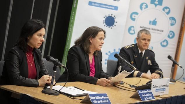 Valérie Plante, Mylène Drouin et Sylvain Caron lors d'une conférence de presse à propos de la COVID-19.
